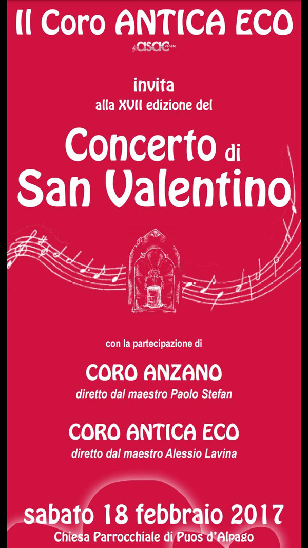 Concerto di San Valentino del Coro Anzano di Puos D'Alpago Belluno