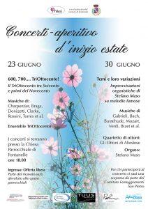 Locandina esecuzioni musica classica in chiesa a Fontanelle Treviso 13 e 30 giugno 2019