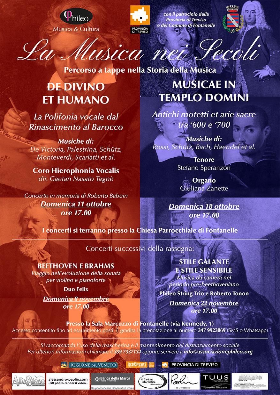 Locandina per la rassegna musicale la musica nei secoli a Fontanelle Treviso